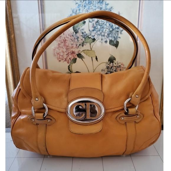 CHRISTIAN DIOR Leather Saint Germain Flap Bag